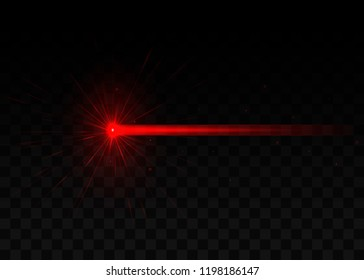 Abstract red laser beam. Isolated on transparent black background. Vector illustration, eps 10.