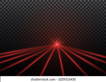 Abstract red laser beam. Transparent isolated on black background. Vector illustration.the lighting effect.floodlight directional
