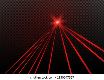 Abstract red laser beam. Transparent isolated on black background. Vector illustration.