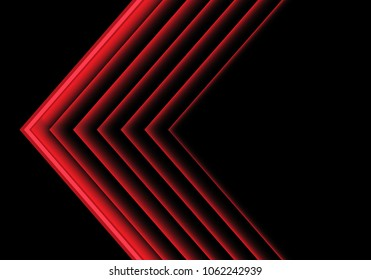 Abstract red light arrow direction on black design modern futuristic background vector illustration.