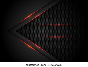 Abstract red light arrow on black with hexagon mesh design modern luxury futuristic technology background vector illustration.