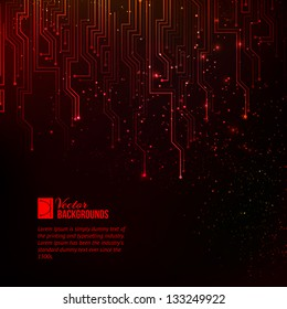 Abstract red lights background. Vector illustration, contains transparencies, gradients and effects.
