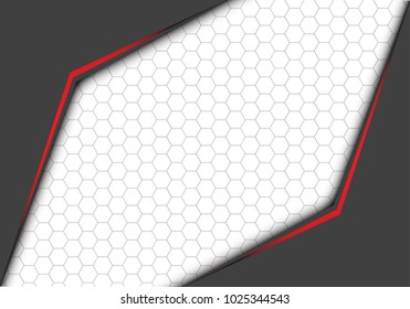Abstract red line metallic gray arrow with hexagon mesh on white blank space design modern futuristic background vector illustration.