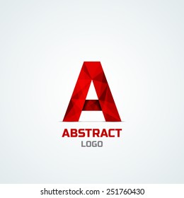Abstract red  logo with A letter isolated on white. Vector illustration