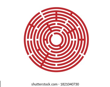 Abstract red maze labyrinth with entry and exit. Vector labyrinth EPS 10.Labyrinth for a children's developmental magazine.vector silhouette on isolated white background.