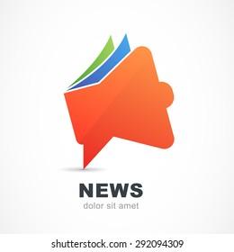Abstract red megaphone icon. Vector logo design template. News, branding, magazine, blog, advertisement concept symbol.