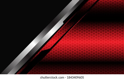 Abstract red metallic hexagon mesh pattern silver black line cyber slash grey triangle design modern futuristic background vector illustration.