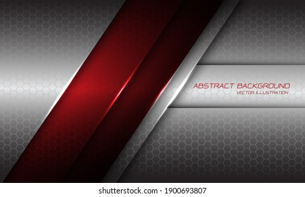 Abstract red metallic line shadow slash on silver hexagon mesh with text design modern futuristic background vector illustration.