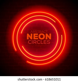 Abstract Red Neon Circles Banner on Brick Wall. Vector illustration.