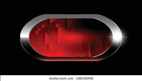 Abstract red oval textured background with a silver frame. Vector illustration.