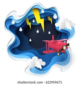 Abstract of red plane flying against crazy sky and thunderbolt in storm, paper art storm concept, vector art and illustration.