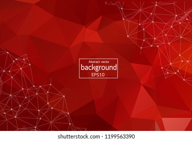 Abstract Red Polygonal Space Background with Connecting Dots and Lines. Geometric Polygonal background molecule and communication. Concept of science, chemistry, biology, medicine, technology.