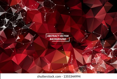 Abstract Red Polygonal Space Background with Connecting Dots and Lines.  Connection structure. Vector science background. Futuristic HUD background.