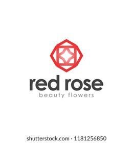 abstract red rose logo minimalis