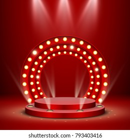 Abstract red round podium with backlight, retro vector background