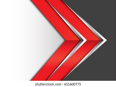 Abstract red silver arrow on gray white design modern background vector illustration.