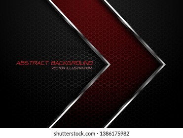 Abstract red silver line arrow on dark grey hexagon mesh design modern luxury futuristic background vector illustration.