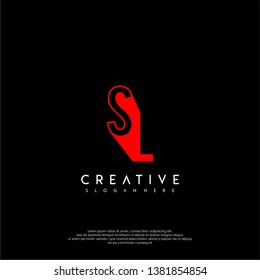 abstract red SL logo letter in shadow shape design concept