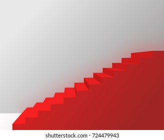 abstract red stair in white room