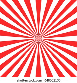 Abstract red sun burst background from radial stripes - vector graphic
