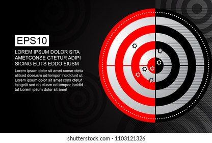 Abstract red target, shooting range with bullet hole on black and white background. Business target goal vector illustration concept.