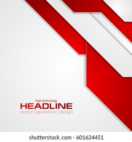 Abstract red tech corporate flyer background. Vector template design