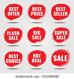 Abstract red texture Sale Tags, Labels And Badges.