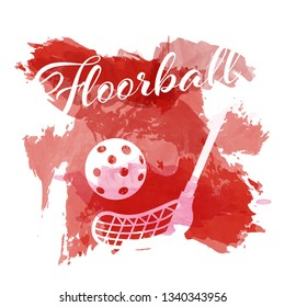 Abstract red watercolor splashes with floorball equipment silhouettes on white background - vector illustration