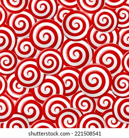Abstract red and white candy spiral lollipops seamless pattern background. vector art image illustration, eps10
