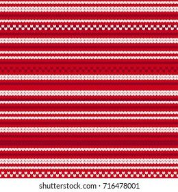 Abstract Red and White Knitted Christmas Seamless Pattern - Great for Christmas and Winter Projects, Wrapping Paper, Backgrounds, Wallpapers.