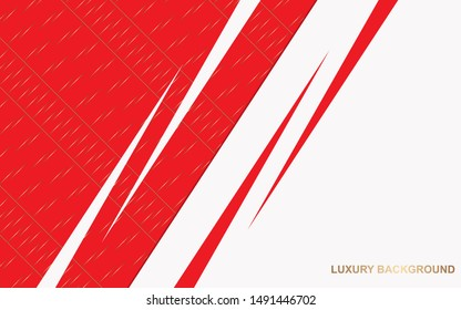 Abstract red and white overlapping layers background a combination with golden texture line decoration. Luxury and premium concept vector design template for use element modern cover, banner, card