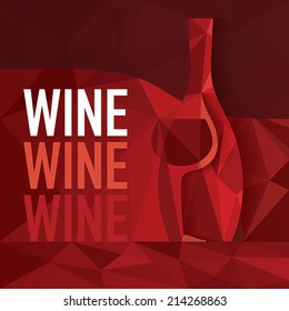 Abstract Red Wine Concept. Wine bottle and glass integrated into colorful background pattern. Text and illustration on separate layers. Fully scalable vector illustration.