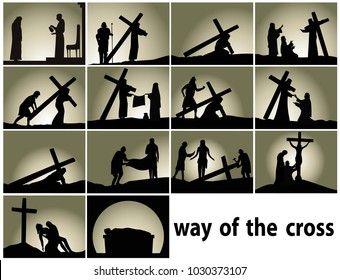 Abstract religious background with Way of the Cross stations