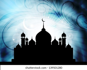 Abstract religious blue color eid background with beautiful mosque,moon and stars. vector illustration.