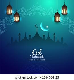 Abstract religious Eid Mubarak Islamic background vector