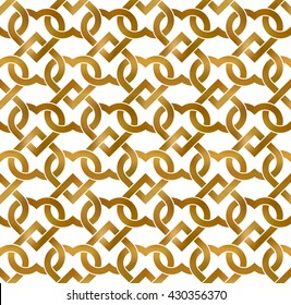 Abstract repeatable pattern background of golden twisted strips. Swatch of gold intertwined hearts. Romantic seamless pattern.