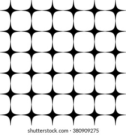 Abstract repeatable rounded squares background, pattern. Monochrome vector texture.