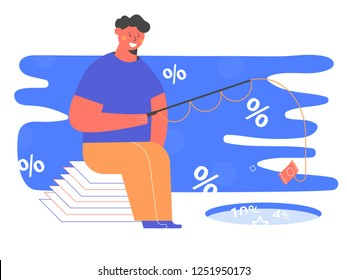 Abstract representation of investing money. A man with a fishing rod throws a banknote into the lake with interest on a bank deposit. Profit making, savings of funds, crediting. Odd vector character.