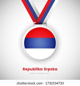 Abstract Republika Srpska country flag on medal vector. Happy republic day of Republika Srpska background with classic typography.