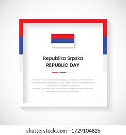 Abstract Republika Srpska flag square frame stock illustration. Modern country frame with text for Republic day of Republika Srpska