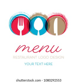 Abstract restaurant menu card design with cutlery signs