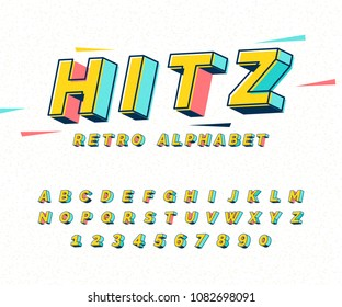 Abstract retro 3D font alphabets, Pop color, Vintage, Typeface, Set