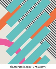 Abstract retro 80s background with geometric shapes and pattern. Material design. Eps10 vector illustration.