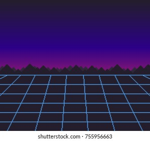 Abstract retro 80's sci-fi pixel art background