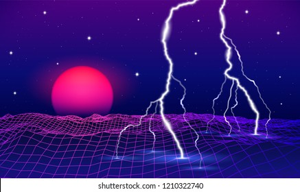 Abstract retro 80s styled futuristic landscape with purple neon sun or moon and lightning in digital space with shiny grid for party poster, flyer or mix cover