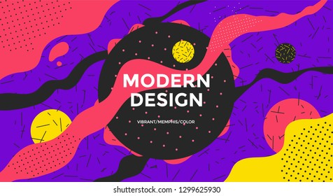 Abstract retro art background design with liquid shapes. Vector widescreen banner with dots and line texture in geometric Memphis style.