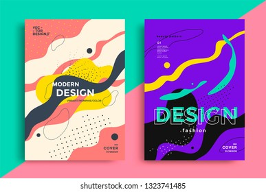 Abstract retro art poster design with liquid shapes. Vector composition with dots and line in geometric Memphis style.