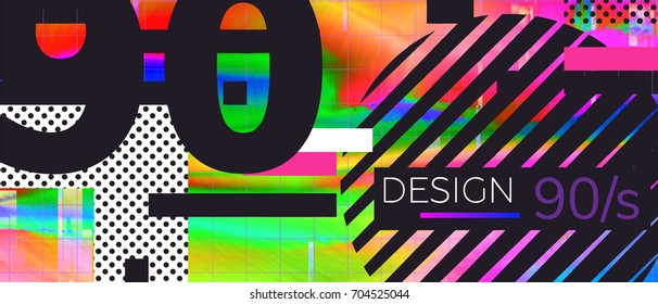 Abstract retro background back to 90s. Vector illustration Gradient Glitch Pattern Design Elements for flyers, leaflets, T-shirts, party etc