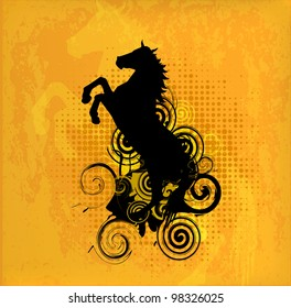 Abstract Retro Background with Horse