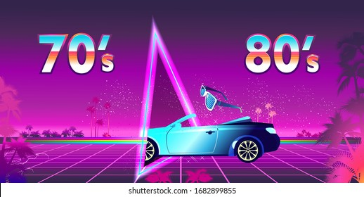 Abstract retro background, mountain night landscape, computer game, neon portal hologram of a magic door to another dimension, vector horizontal banner